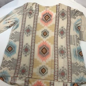 Thin Knit Tribal Print Sweater 1X Lavish Plus 1X